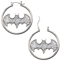 "316L Surgical Steel, Batman Glitter Fashion 1.5 ""Hoop Earring Pair Bat man"