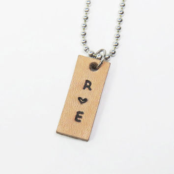 Personalized leather couple pendant necklace boyfriend necklace girlfriend necklace couple jewelry