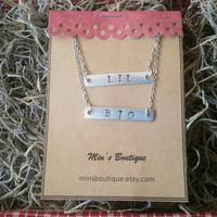 Big lil sorority necklace bar necklace sorority necklace big sis little sis monogrammed necklace silver necklace big sister little sister