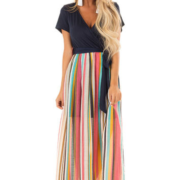 Multi Color Striped Short Sleeve Maxi Dress with Tie Detail