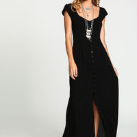 BLACK BOHO CREPE MAXI DRESS