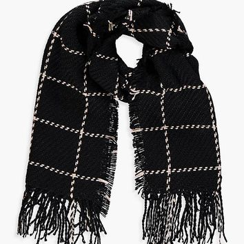 Amy Stitch Check Oversized Blanket Scarf | Boohoo