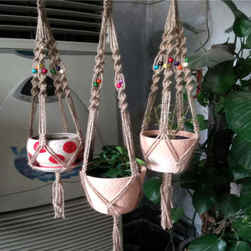 Hand made Plant Hanger Flower pot Holder Garden pot Lifting Rope String Bonsai Garden Pots Hanging Rope Garden Supplies