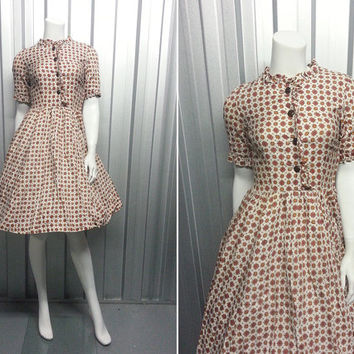 Vintage 60s 50s Full Skirt Mad Men Dress Frilly Sleeves High Neck 1950s Rockabilly Garden Party Dress Half Sleeves Ruffle Frock Picnic Dress