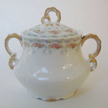 J. Pouyat Pink Rose Garland Sugar Bowl with Lid. Limoges China.