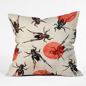 Elisabeth Fredriksson Grasshoppers Outdoor Throw Pillow