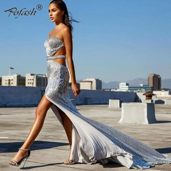 POFASH Sequin Party Maxi Dress 2018 Sexy Backless Slip Long Summer Dresses Women Empire Elegant high split Bodycon Club Dress
