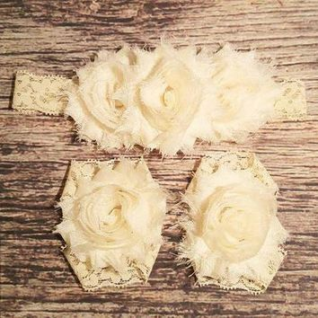 Vintage Lace Cream Headband Set - Baby Girl