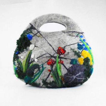 Felted Bag Nunofelt Handbag Purse Felt Nuno felt Eco mushroom grey gray fog silver fairy multicolor floral fantasyFiber Art boho