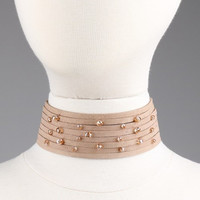 Suede Crystal Accent Light Brown Choker Set