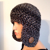 Crochet Chunky Earflap Winter Beanie in Anchorage Ice