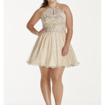 Illusion Crystal Beaded Short Chiffon Halter Dress - Davids Bridal