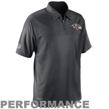 Nike Baltimore Ravens Conference Quarter Zip Performance Polo - Anthracite