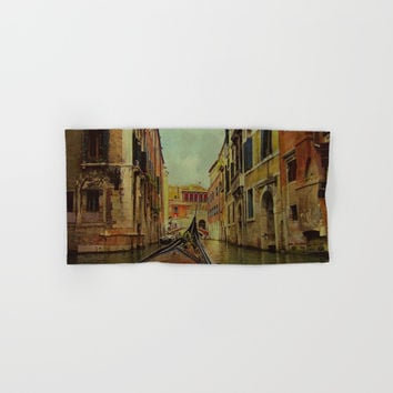 Venice, Italy Canal Gondola View Hand & Bath Towel by Theresa Campbell D'August Art