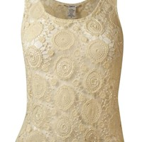 Bar III Women's Beaded Sheer Lace Tank Top