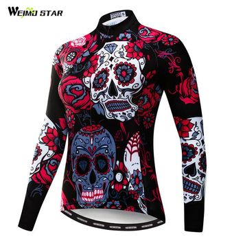 Weimostar 100% Polyester Women Long Sleeve Cycling Jersey Autumn Mountain Bicycle Clothing Skull Printing MTB Bike Jersey Jacket