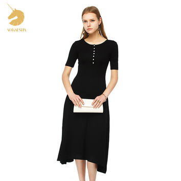 Free Shipping 2017 autumn dress Crew Neck Buttons Front short Sleeve Womens Stretch Maxi Ankle Lengt