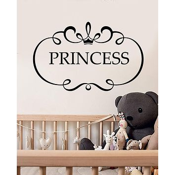 Vinyl Wall Decal Quote Word Logo For Little Princess Room Stickers (2988ig)