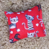 Red Catnip Toy Set of Two Small Gift Kitten Cat Print