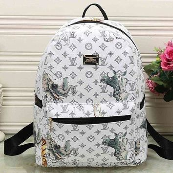 DCCKON LV Louis Vuitton Cute Pattern Leather Travel Bag Backpack