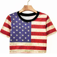 Hot-selling New preppy style HARAJUKU t shirts street all-match sexy Print Punk crop top/American UK Flag skulls