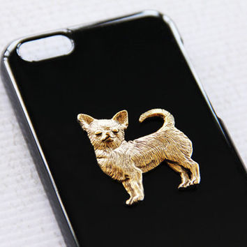 Chihuahua iPhone 5C Ultra Chic Black High Shine Gold Smartphone Hard Shell iPhone 6 Case