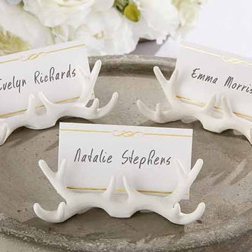 free shipping 12pcslot resin white antler place card holder wed