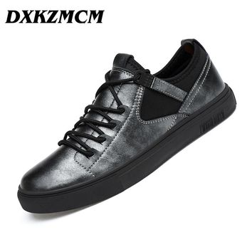 DXKZMCM Men's Shoes, Handmade Genuine Leather Men Casual Shoes, Men Fashion Designer Flats Sneakers Shoes