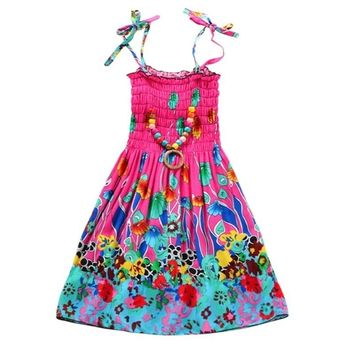 Lovely baby girl floral printing beach suspender Princess Skirt