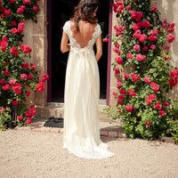 Custom Made Open Back Full Lace Wedding Dress