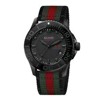 "Gucci Men's YA126229 ""G-Timeless"" Dive Black Dial Nylon Strap Watch"