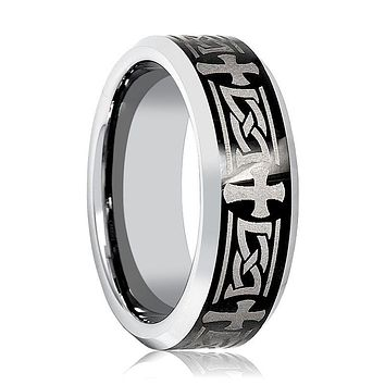 Aydins Mens Tungsten Wedding Band Celtic Cross Design Engraved 8mm Tungsten Carbide Ring