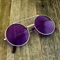 Vintage Steampunk Hippie Round Flip Up Tinted Color Lens Sunglasses