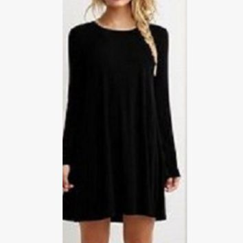 Pure color long sleeve loose thin dress more color code(5-color) Black