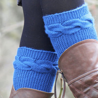 Knitted Boot Cuff  Woman  - Soft Blue Short Cable Knit Boot Cuffs. Short Leg Warmers. Crochet Boot Cuffs. Blue Legwear
