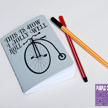 Bicycle notebook Penny Farthing journal by purplecactusdesign