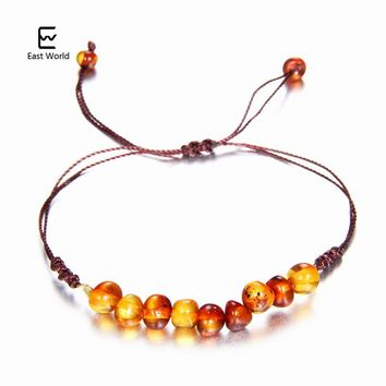 EAST WORLD 9 New Natural Amber Bracelets for Women Turquiose Amethyst Strand Baltic Amber Beads Bracelet Handmade Baby Jewelry