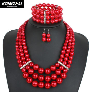 pearl jewelry sets & more fashion multi layer necklace women trendy pearl necklace statement necklace W1460