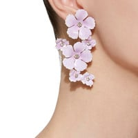 Lilac Painted Brass Crystal Earrings | Moda Operandi