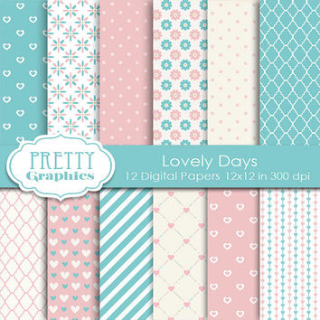DIGITAL PAPERS - Lovely Days - Commercial Use - Instant Downloads - 12x12 JPG Files - Scrapbook Papers - High Quality 300 dpi