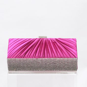 Ruffle Top Rhinestone Row Bottom Clutch