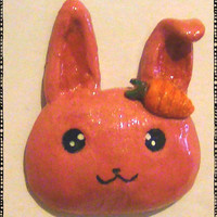 Cute Carrot Hairpin Pink Bunny Head Polymer Magnet