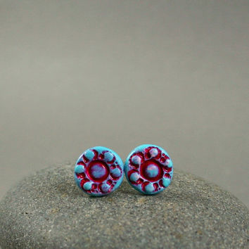 Turquoise And Red Retro Earrings - Hand Sculpted