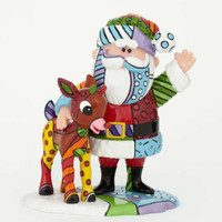 Enesco Romero Britto  Santa and Rudolph NIB 4039613