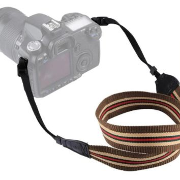 Brown Red Tan Striped Camera Strap Photographers Gift - CAST56