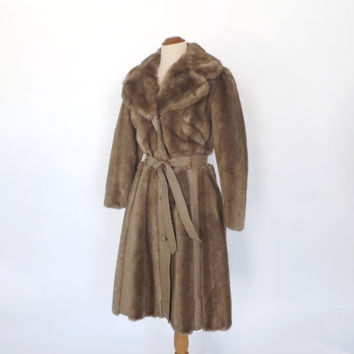 Iconic Vintage 1970s 60s Blonde Fur Leather TRENCH COAT Belted JACKET Winter Outerwear Hippie Boho Fur Trim Coat Fall Jacket American Hustle
