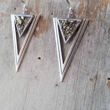 Geometric Earrings, Triangle Earrings, Geometric Jewelry, Pyrite Earrings, Nickel Free Earrings, Boho Earrings, Fall 2015, Holiday Jewelry
