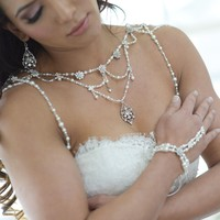 OOAK White Wedding Pearl Statement Necklace Bolero