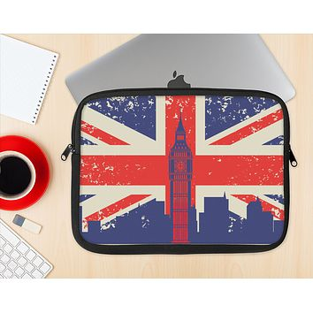 The Vintage London England Flag Ink-Fuzed NeoPrene MacBook Laptop Sleeve