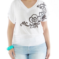 Plus-Size Floral-Print Top with Rhinestone-Accented V-Neck - Rainbow